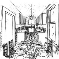 Cottage Kitchen: Kitchen sketch