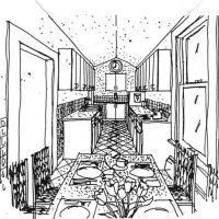 Cottage Kitchen: Kitchen sketch